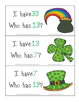 St. Patrick's Day I Have, Who Has?  1-36