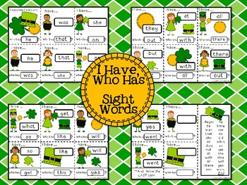 St. Patrick's Day I Have, Who Has Card Game - Sight Words (25 Primer words)