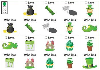 St. Patrick's Day  I Have... Who Has... Game