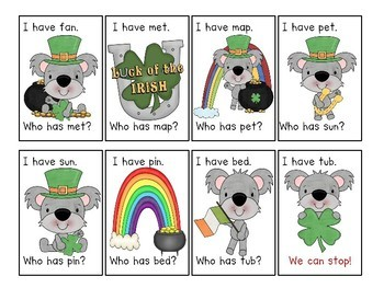 St. Patrick's Day I have... Who has...? CVC Word Game