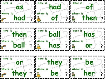 "St. Patrick's Day ""I have... Who has..."" type game with 76 sight words"