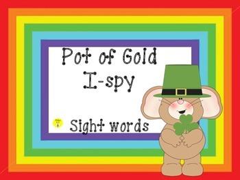 St. Patrick's Day I spy-Pot of Gold sight words