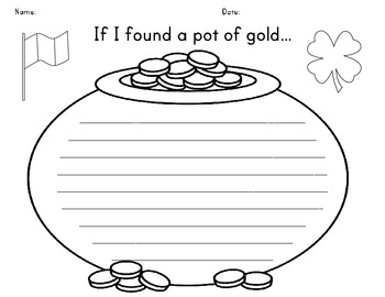 St. Patrick's Day If I Found a Pot of Gold Writing Activity