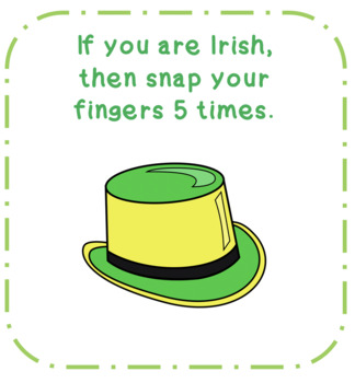 St. Patricks Day If Then Movement Following Conditional Directions (26 Cards)