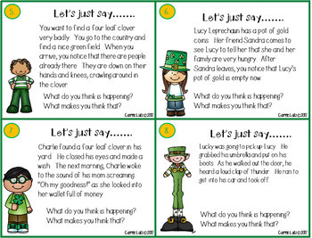 Inferring Task Cards ~ St. Patrick's Day Themed
