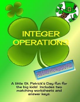 St. Patricks Day Integer Operations Activity
