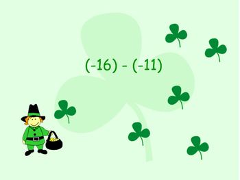 """St. Patrick's Day """"Integers"""" Koosh Ball Game for the Interactive Whiteboard"""