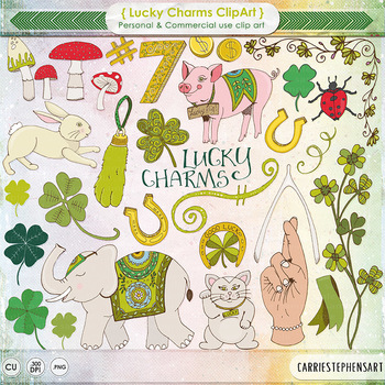 St Patrick's Day Irish Charms Clip Art - Lucky Rabbits Foot, Lucky Pig, Shamrock