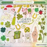 St Patrick's Day Irish Charms Clip Art - Lucky Rabbits Foot, Lucky Pig, Shamrock