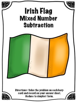 St. Patrick's Day Irish Flag Mixed Number Subtraction Math Center (Common Core)