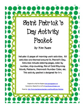 St Patrick's Day K-1 Activity Packet and Morning Work