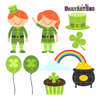 St. Patricks Day Kids  Clip Art - Great for Art Class Projects!