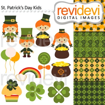 St Patrick's Day Kids Clip art and digital papers