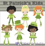 St. Patrick's Day Kids in Green Digital Clip Art