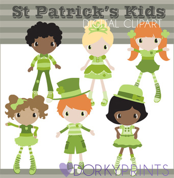 St. Patrick's Day Kids in Green Digital Clip Art