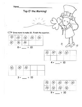 St. Patrick's Day Kindergarten Common Core Worksheets Homework Game Activities