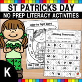 St. Patrick's Day Kindergarten Literacy Worksheets (Common Core Aligned)