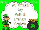 St. Patrick's Day Kindergarten Math & ELA Pack (23 CCSS Centers)