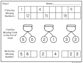 St Patricks Day Kindergarten Math Worksheets