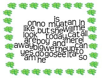 St. Patrick's Day Kindergarten Sight Word Wordle