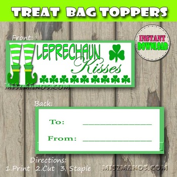 St Patricks Day Kisses Candy Treat Bag Toppers Snack Baggie Size