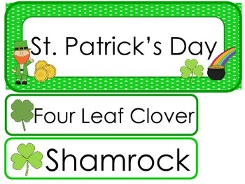 St. Patrick's Day  Word Wall Weekly Theme Posters.