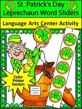 St. Patrick's Day Language Arts Activities: Leprechaun Word Sliders