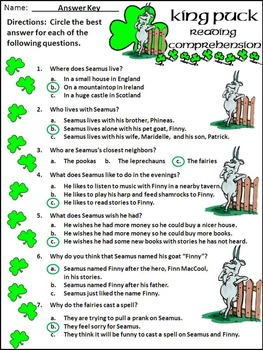 St. Patrick's Day Reading Activities: King Puck St. Patrick's Day Activities