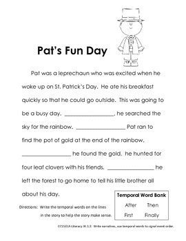 St. Patrick's Day Language Arts ELA Printables - Common Core First Grade