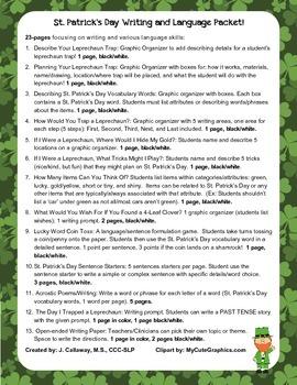 St. Patrick's Day ~ Language, Writing, and Graphic Organizers