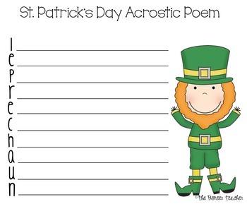 St. Patrick's Day Leprechaun Acrostic Poem