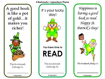 St Patrick's Day Bookmarks - Set of 6