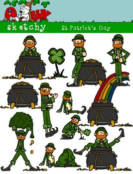 St Patrick's Day / Leprechaun Clipart 300dpi Color Black Lined Grayscale