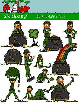 St Patrick's Day / Leprechaun Clipart 300dpi Color Black L