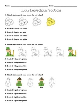 St Patrick's Day Leprechaun Fractions