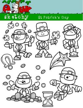 St Patricks Day / Leprechaun Fun Clipart 300dpi Color Gray Black Lined