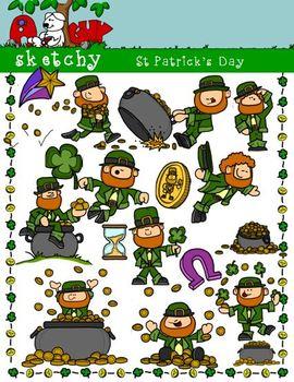 St Patricks Day / Leprechaun Fun Clipart 300dpi Color Gray
