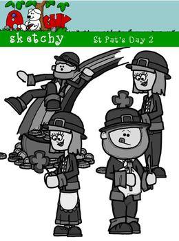 St Patricks Day / Leprechaun Fun Clipart #2 300dpi Color Gray Black Lined