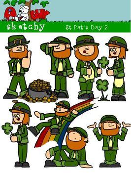 St Patricks Day / Leprechaun Fun Clipart #2 300dpi Color G