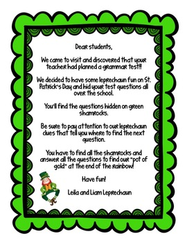 St. Patrick's Day Leprechaun Grammar Hunt: a fun seasonal activity