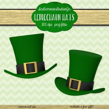 St. Patrick's Day Leprechaun Hats Clipart, 300 dpi png files