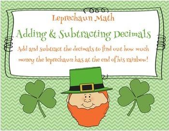 St. Patrick's Day Leprechaun Math:  Adding & Subtracting Decimals