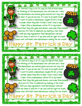 St. Patrick's Day Leprechaun Munch Snack Mix {Fun Poem} and {Bag Toppers}