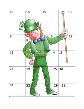 St. Patrick's Day Leprechaun Number Puzzle