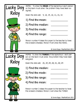 St Patrick's Day Leprechaun Relay - A fun way to review Measures of Center!