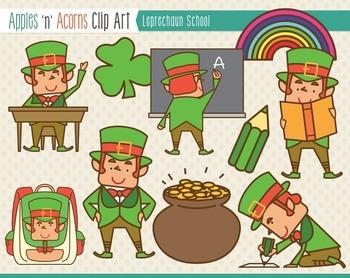St. Patrick's Day Leprechaun School Clip Art - color and outlines