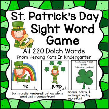 St. Patrick's Day Leprechaun Sight Word Game (Dolch Word Lists 1-11)