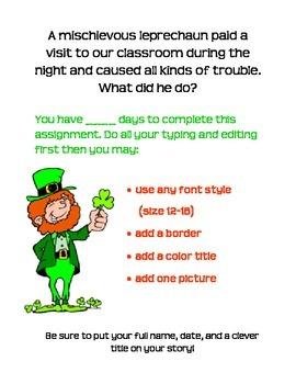 St. Patrick's Day Leprechaun Writing Assignment