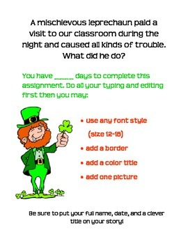 St. Patrick's Day Leprechaun Writing Assignment