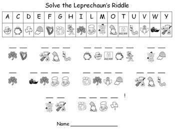 St. Patrick's Day - Leprechaun's Secret Message Puzzle